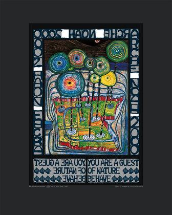 Hundertwasser Imagine tomorrow/'s world Blue Blues Poster Kunstdruck und Rahmen