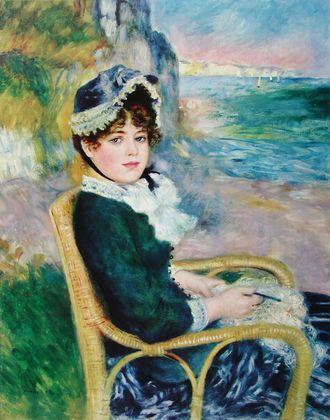 Pierre Auguste Renoir Dame im Rattanstuhl vor der Steilkueste