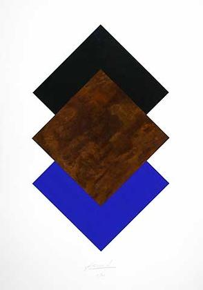 Juergen Freund Quadrate Schwarz Rost Blau