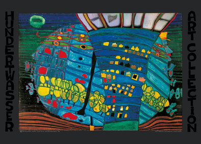 hundertwasser der blaue mond poster kunstdruck bei. Black Bedroom Furniture Sets. Home Design Ideas