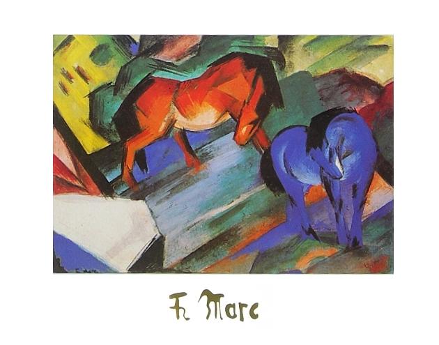 Franz Marc Rotes Und Blaues Pferd Poster Kunstdruck