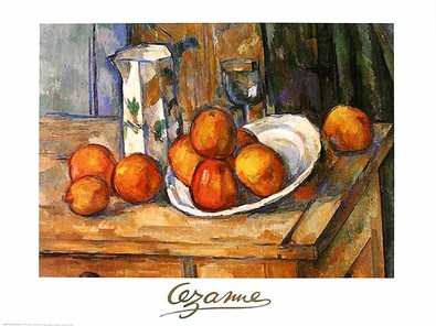 Paul Cezanne Kettle glass and plate with fruit