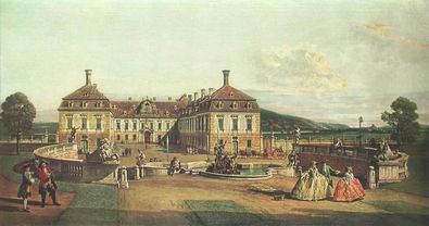 Bernardo Canaletto - Bellotto Lustschloss Schlosshof im Marchfeld
