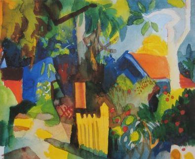 August Macke Landschaft mit hellen Baeumen