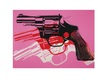 Andy Warhol Guns 1981-82 black white red on pink