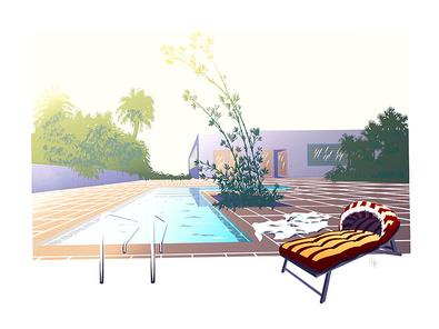 Nicht bekannt Pool with Sunbed II (handsigniert)