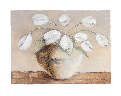 Antonio Ferralli 2er Set 'Tulips in Brown' + 'White Flowers in Brown'
