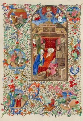 Miniatur N B Wien Christi Geburt   aus Gebetbuch um 1450