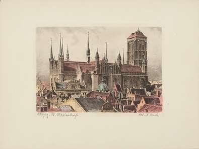 Bruck Danzig, St. Marienturm, rechts (coloriert)