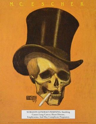 MC Escher Schaedel mit Hut und Zigarette