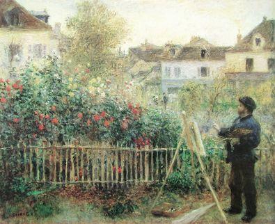 Pierre Auguste Renoir Monet  beim Malen in seinem Garten