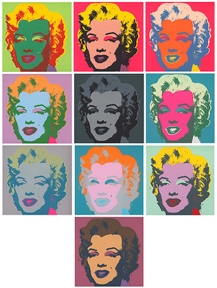 andy warhol marilyn kopf pink set of 10 grafik bei. Black Bedroom Furniture Sets. Home Design Ideas
