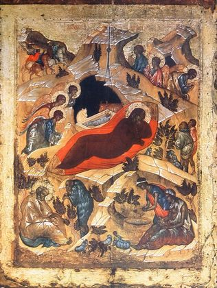 Ikone Russisch Die Geburt Christi