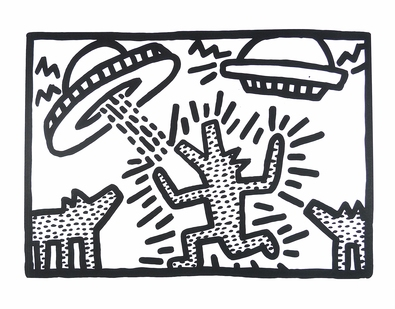 Keith Haring Untitled, 1982 (Dogs with UFO's)