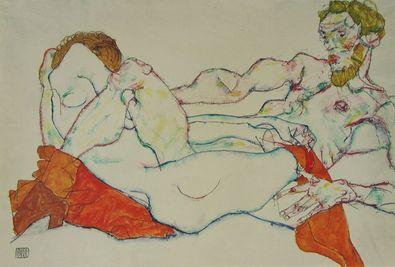 Egon Schiele Verschraenkt liegendes Paar   1913