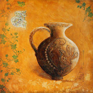 Bernadette Lopicki 2er Set 'Pichet aux feuilles de lierre' + 'Jarre aux feuilles de lierre'