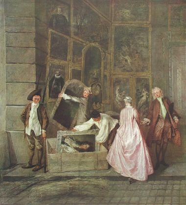 Antoine Watteau Ladenschild des Kunsthaendlers Gersaint (links)