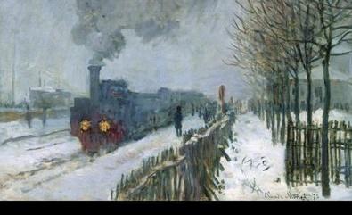 Claude Monet Die Eisenbahn im Schnee, Lokomotive