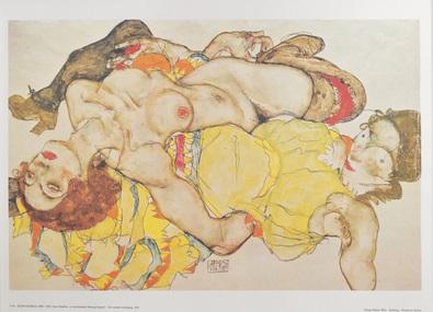 Egon Schiele Zwei Modelle liegend in verschraenkter Haltung
