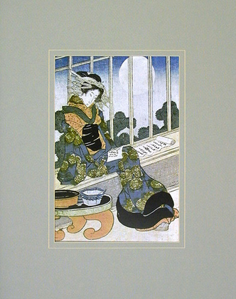 Keisai Yeisen Japanese Lady Reading by Moonlight