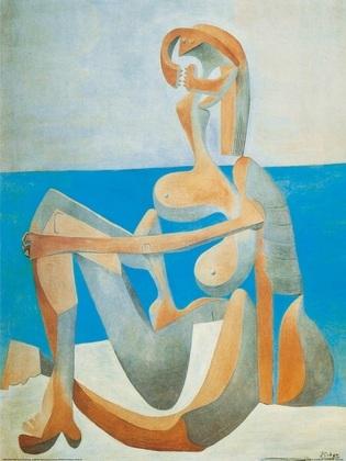 Pablo Picasso Badende sitzt am Rand des Meeres