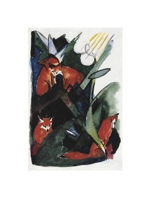 Franz Marc Vier Fuechse, Postkarte an Wassily Kandinsky, 1913