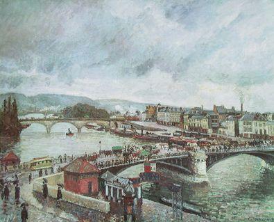 Camille Pissarro Die grosse Bruecke von Rouen bei Regen