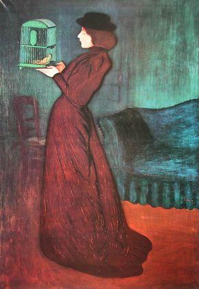 Jozsef Rippl-Ronai Frau mit Vogelkaefig