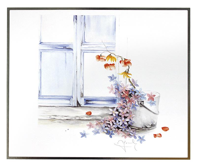 nicht bekannt blumen am fenster poster kunstdruck bei. Black Bedroom Furniture Sets. Home Design Ideas