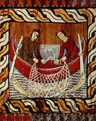 Nicht bekannt Romanische Deckenmalerei - Der wunderbare Fischzug ca. 1130