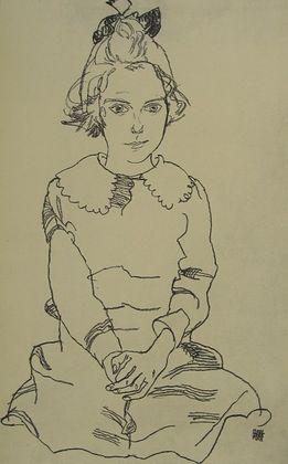 Egon Schiele Sitzendes Maedchen (Maria Steiner)   1918
