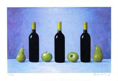 Andreas Scholz Blaues Stilleben Obst (2000)
