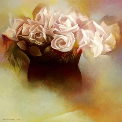 Felice Bossone 2er Set 'Vaso con Rose' + 'Vaso con Peonie Rosa' (klein)