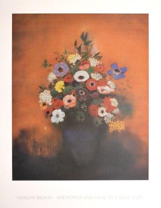 Odilon Redon Anemonen und Flieder in blauer Vase