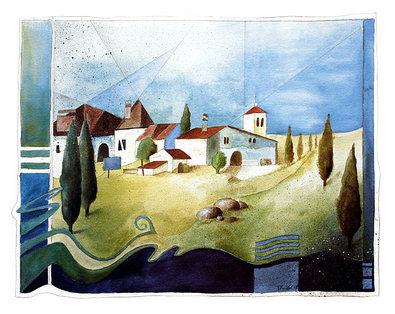 Ludger Thuilot Landschaft mit Haeuser und Zypressen
