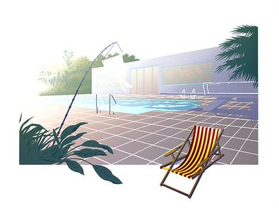 Nicht bekannt Pool with Sunbed I (handsigniert)