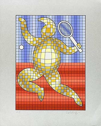 Victor Vasarely Tennis Rot Blau auf Silber