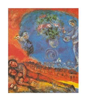 Marc Chagall Liebende auf rotem Hintergrund
