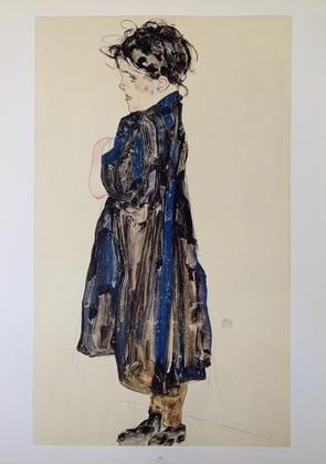 Egon Schiele Maedchen im blauen Kleid