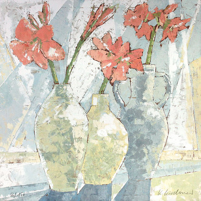 Karsten Kirchner Stilleben mit Blumen und Vase (handsigniert)