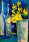 Marlis Schildt Gelbe Blumen mit Flaschen