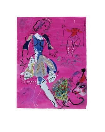 Marc Chagall Taenzerin vor malvenfarbigem Hintergrund, ca. 1970