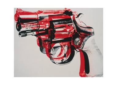 Andy Warhol Gun - black and red on white