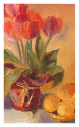 Shari White Spring Tulips with Lemons