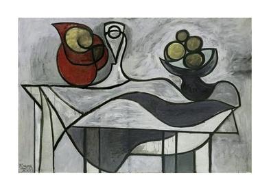 Pablo Picasso Krug und Obstschale