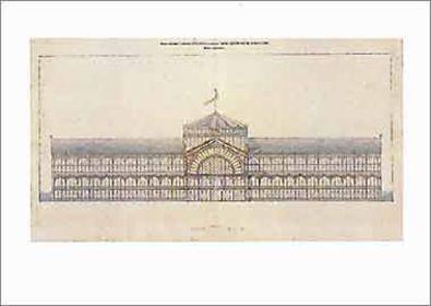 Jakob Ignaz Hittorff Industriepalaus Gusseisen und Glas fuer die Champs ElyseesHauptfassade1852