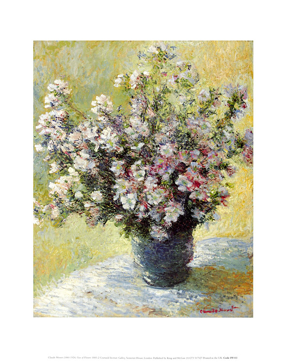 claude monet vase mit blumen poster kunstdruck bild 36x28cm portofrei ebay. Black Bedroom Furniture Sets. Home Design Ideas
