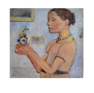 Paula Modersohn-Becker Junges Maedchen mit gelben Blumen im Glas