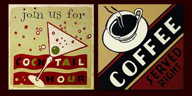 Roy Fox 5er Set 'Cocktail Hour' + 'Coffee Served Right' + 'Best Coffee Around' + 'Orange Pekoe Tea' + 'First Class Food'