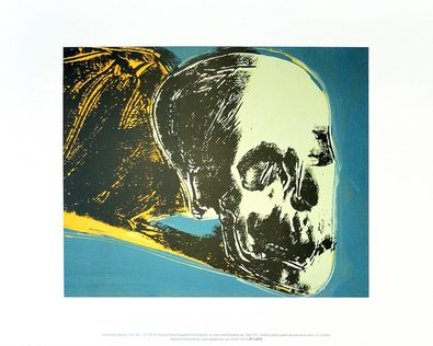 Andy Warhol Skull 1976 (yellow on teal)
